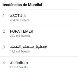 """Eliminada do BBB grita """"Fora, Temer"""" e acontecimento fica em 2° nos Trending Topics"""