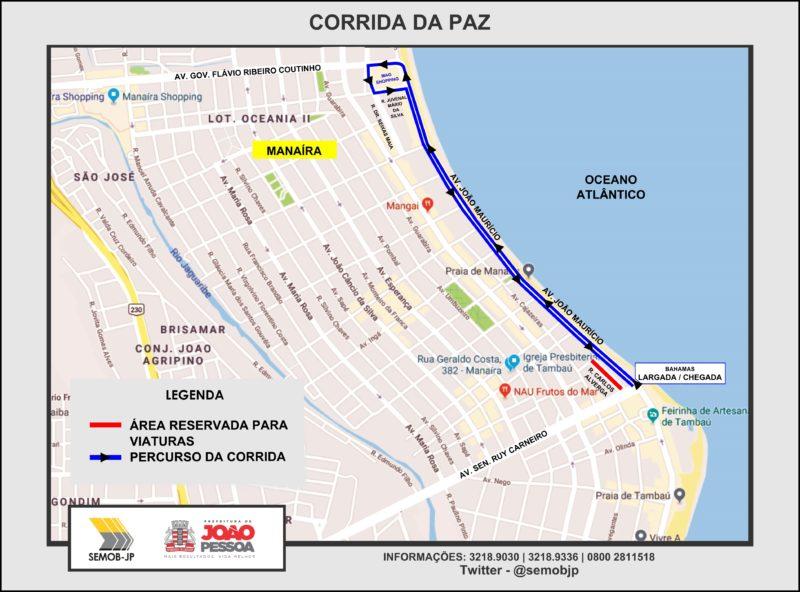 Semob interdita Avenida João Maurício para a Corrida da Paz neste domingo