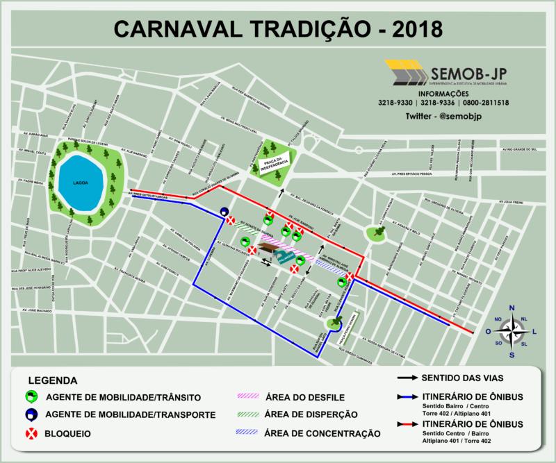 Semob-JP define plano de trânsito para os desfiles do Carnaval Tradição
