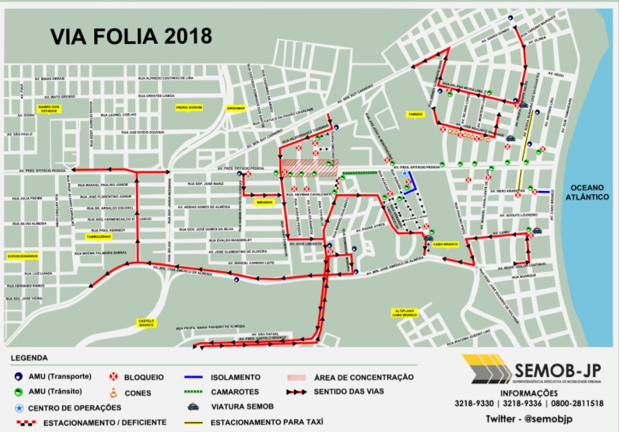 Semob-JP divulga plano de mobilidade para os desfiles do Folia de Rua