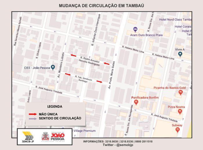 Semob-JP altera circulação de duas ruas em Tambaú para sentido único
