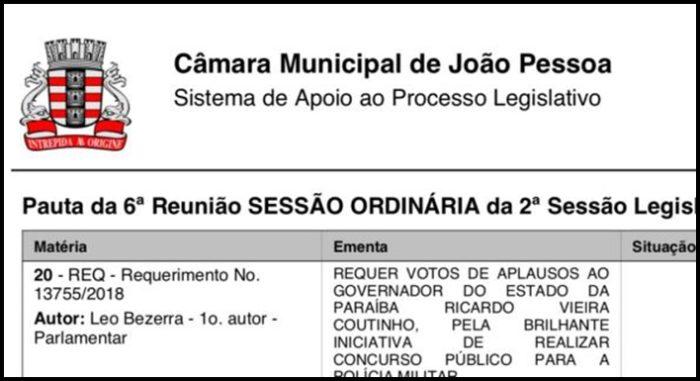 Vereador propõe voto de aplauso a governador por concurso de mil vagas para a PMPB