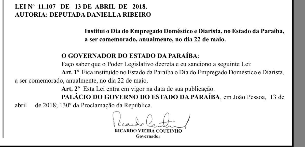 Lei que cria Dia do Empregado Doméstico e Diarista na PB é sancionada por Ricardo