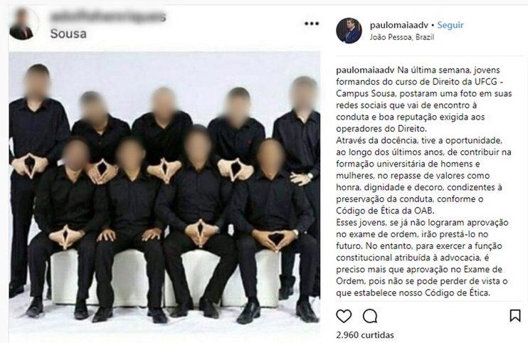 Estudantes de Direito da UFCG postam foto sugerindo gesto obsceno e OAB-PB repudia