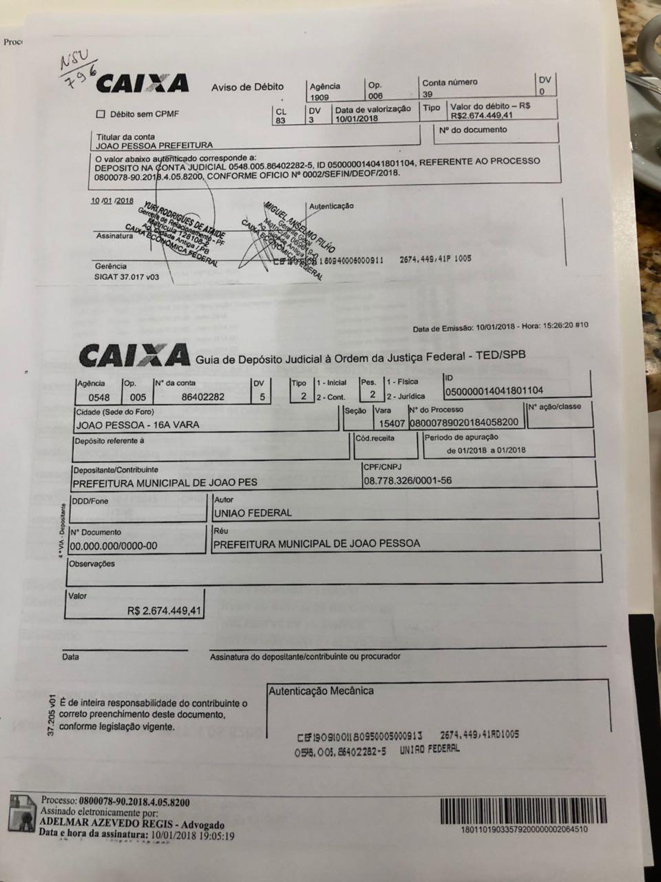Lagoa, 2 anos: Justiça Federal obrigou PMJP a devolver R$ 2,6 mi para aceitar recurso