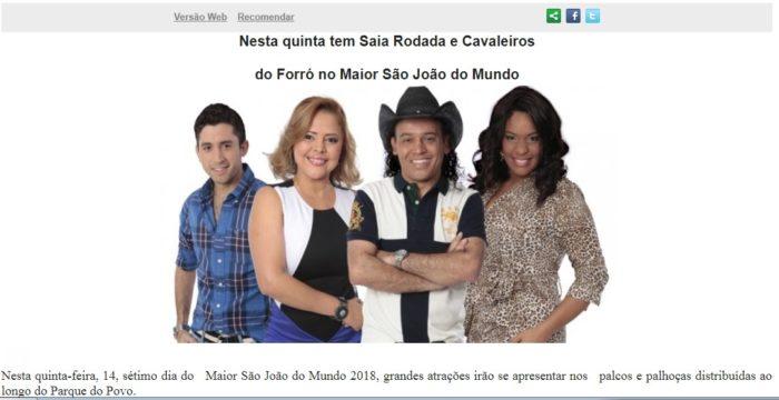 PMCG divulga programação do São João com foto de cantora falecida e gera constrangimento