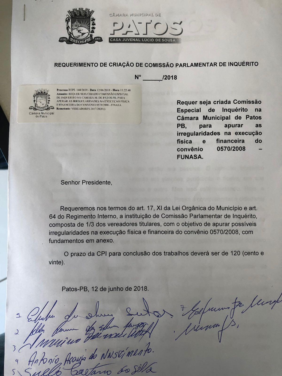 Vereadores de Patos protocolam 2 CPIs para investigar ex-prefeita Chica Motta