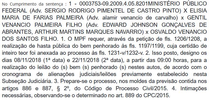Juiz federal bloqueia bens de ex-prefeito de Cuité e agenda leilão para novembro