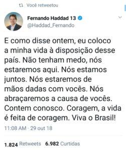 Haddad parabeniza Bolsonaro através das redes sociais e deseja sucesso no cargo