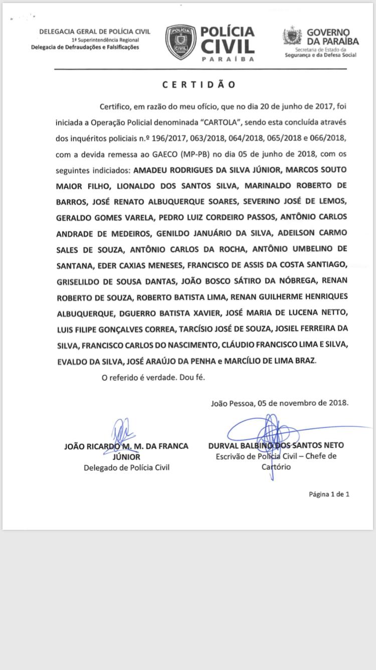 Operação Cartola: certidão comprova que investigação já havia sido concluída quando delegados foram transferidos