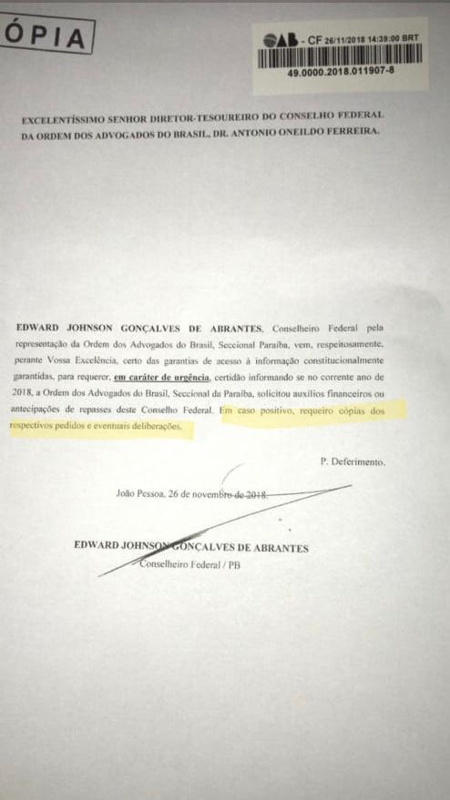 Paulo Maia pede socorro financeiro de quase R$ 1 milhão à OAB nacional para cobrir rombo na OAB/PB