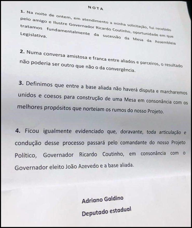 """Após reunião com Ricardo, Galdino garante que base marchará """"unida"""" para definir Mesa da ALPB"""
