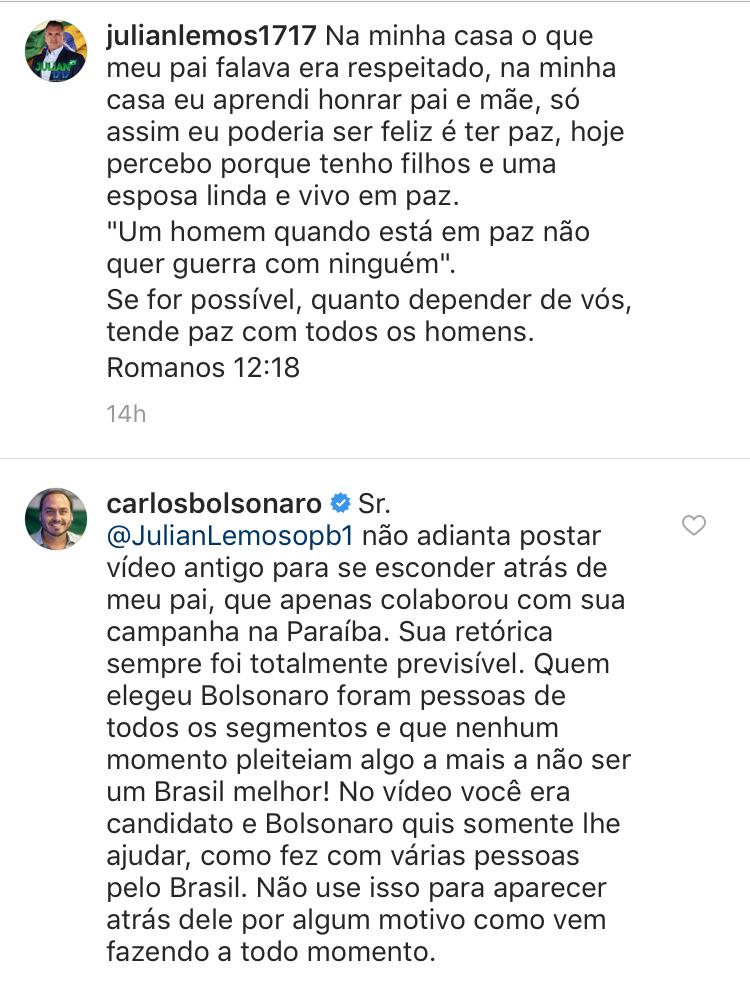Em mais uma postagem nas redes sociais, filho de Bolsonaro e Julian Lemos voltam a trocar farpas