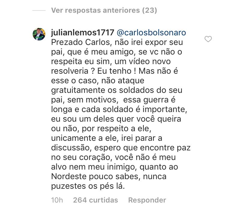 """""""Sugerimos parar de aparecer atrás dele como faz sempre"""", dispara filho de Bolsonaro contra Julian"""