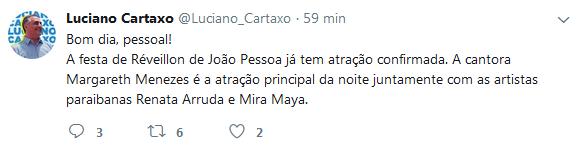Réveillon 2018 da Capital terá show de Margareth Menezes, anuncia Cartaxo