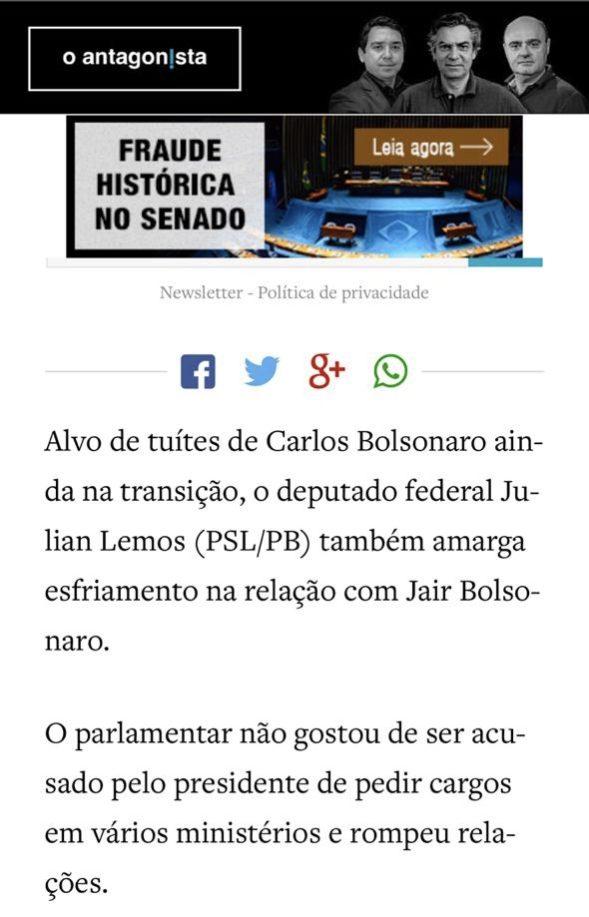 Mídia nacional revela que deputado paraibano foi 'escanteado' por Bolsonaro