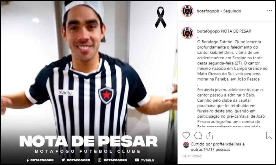 Na véspera da decisão da Copa do NE, Belo faz homenagem a Gabriel Diniz
