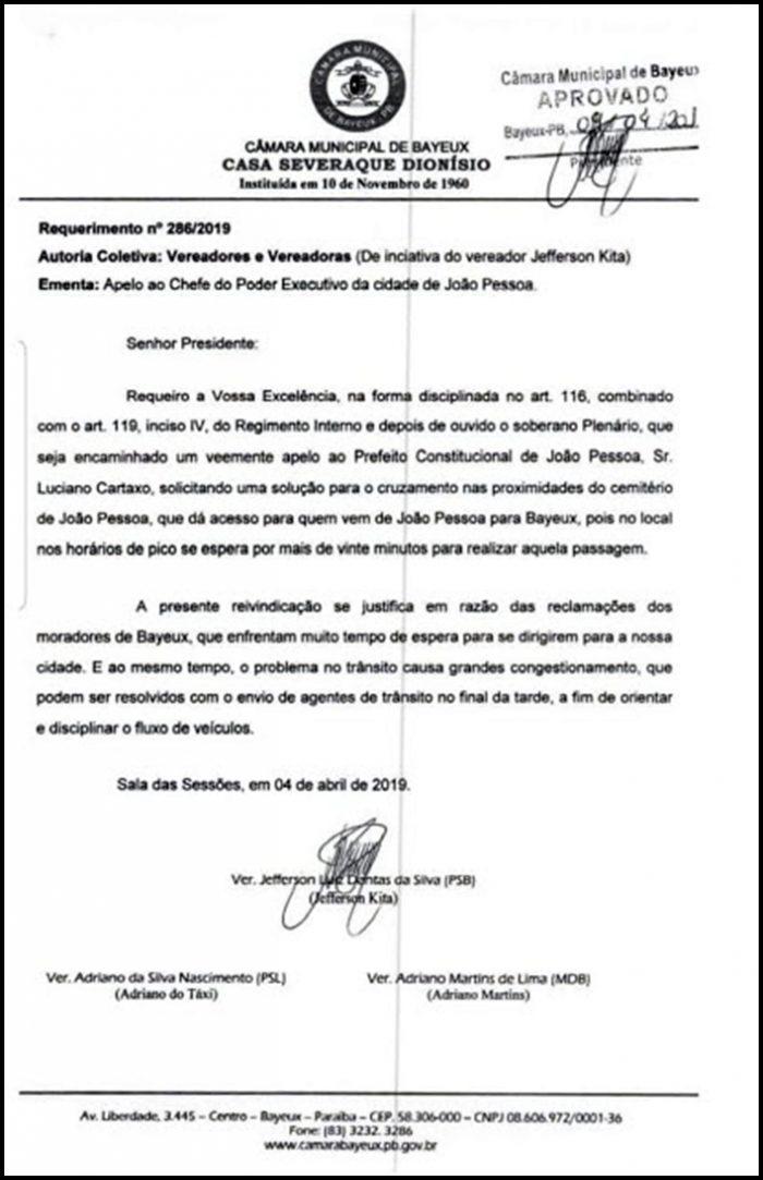 Vereador Kita pede e PMJP altera trecho que liga João Pessoa a Bayeux