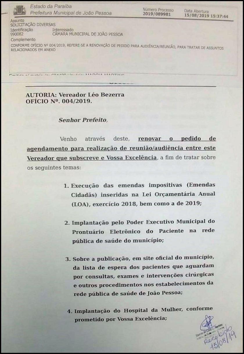 Leo Bezerra pede audiência com Cartaxo para tratar do Hospital da Mulher