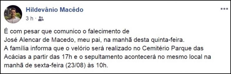 Morre em João Pessoa pai de secretário do prefeito Luciano Cartaxo