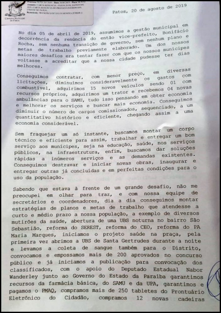 Prefeito de Patos, Sales Júnior anuncia renúncia após quatro meses no cargo