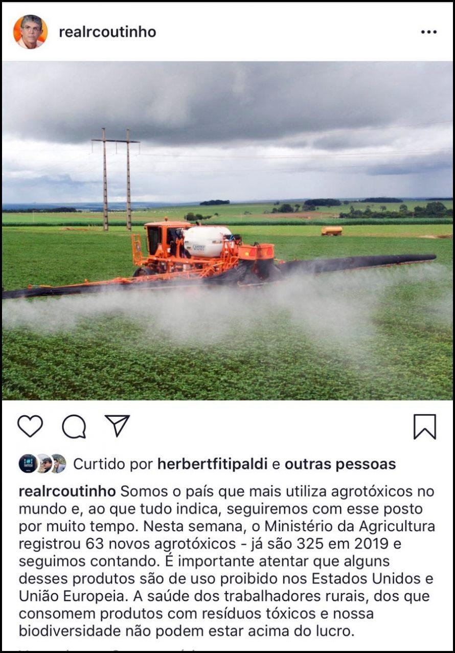 RC lamenta liberação de novos agrotóxicos e critica ganância do agronegócio no Brasil