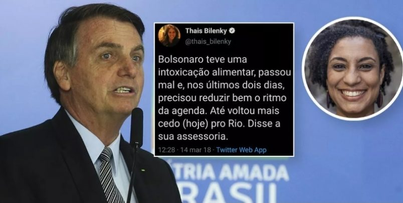 Tuíte de jornalista no dia da morte de vereadora mostra que Bolsonaro poderia estar no RJ