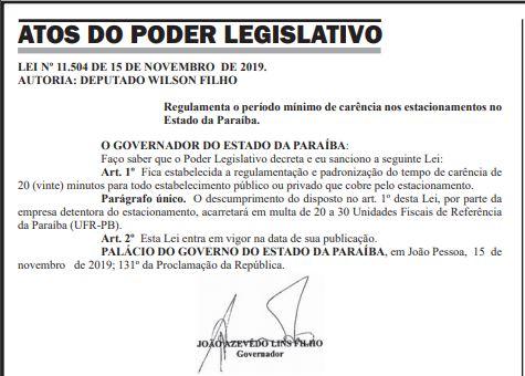 leiestacionamento - Lei que garante carência de 20 minutos em estacionamentos de shoppings é sancionada na PB