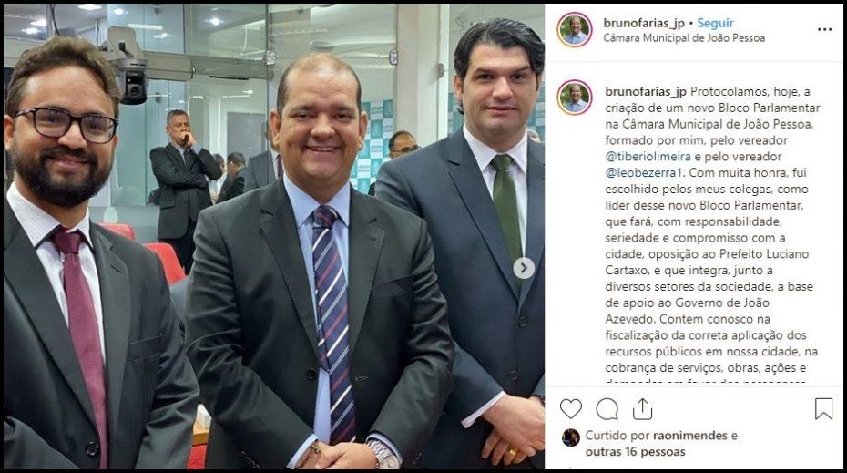 Leo, Bruno e Tibério criam novo bloco parlamentar na CMJP e agora formam o G3