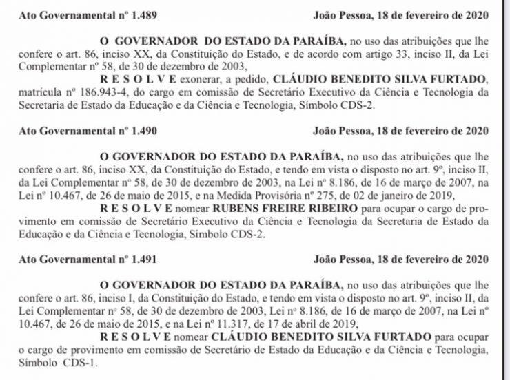 João efetiva Cláudio Furtado na Educação e nomeia Rubens Freire para Ciência e Tecnologia