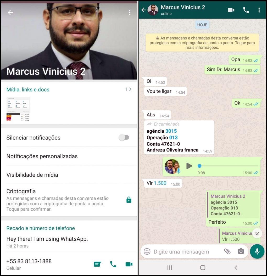 Criminosos criam perfil falso do presidente da Cagepa para praticar golpes pelo WhatsApp