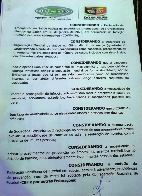 Ministério Público recomenda à FPF paralisação do Campeonato Paraibano