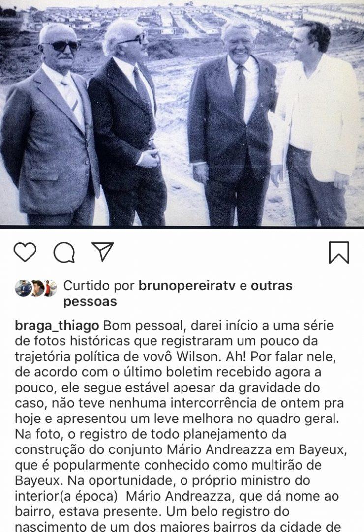 """Estado de saúde de Wilson Braga apresenta """"leve melhora"""", revela neto do ex-governador"""
