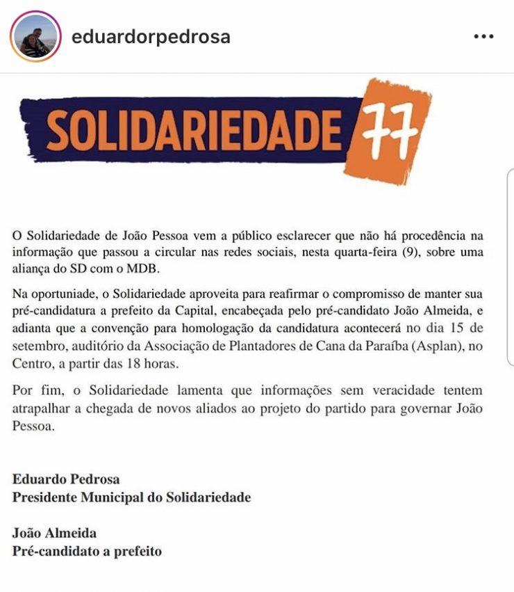 Solidariedade nega aliança com MDB e mantém João Almeida na disputa em JP