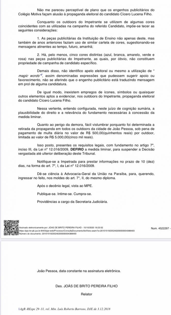 TRE suspende liminar e descarta propaganda subliminar do Colégio Motiva