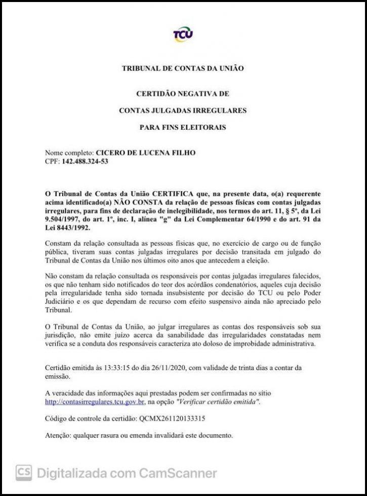 Certidões do TRE e TCU comprovam elegibilidade e ficha limpa de Cícero