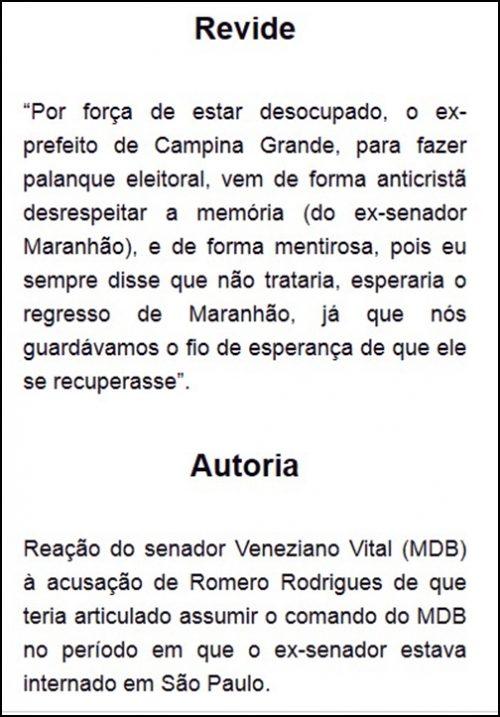"""Veneziano acusa Romero de desrespeitar memória de Maranhão e dispara: """"desocupado"""""""